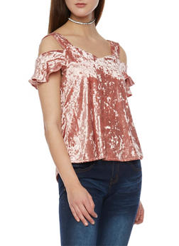 Crushed Velvet Cold Shoulder Top with Flutter Sleeves - 1305058757958