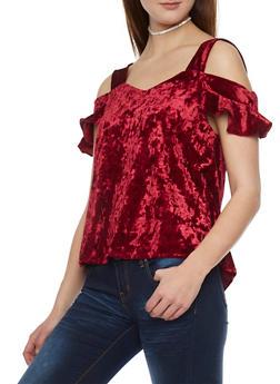 Crushed Velvet Cold Shoulder Top with Flutter Sleeves - 1305058757958
