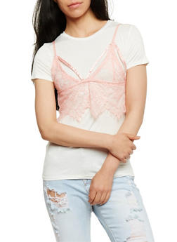 Lace Bralette Layered T Shirt - 1305058758042