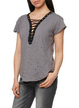 Short Sleeve Lace Up Lasercut T Shirt - 1305058758047
