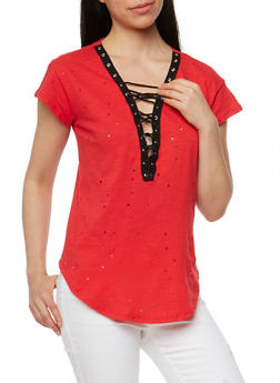Short Sleeve Lace Up Lasercut T Shirt - RED - 1305058758047