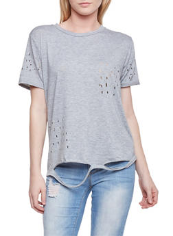 Laser Cut Short Sleeve T Shirt - 1305058758056