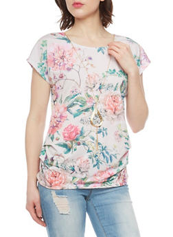 Floral Ruched Side Top with Necklace - 1305058758086