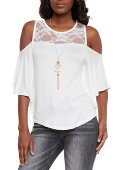 Lace Panel Cold Shoulder Top with Necklace - 1305058758098