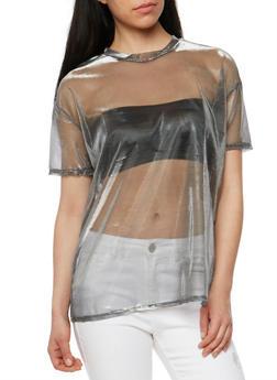 Mettalic Mesh T Shirt - 1305058758130