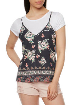Basic T Shirt with Floral Cami Overlay - 1305058758132