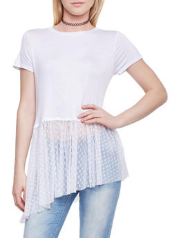 Cropped T Shirt with Mesh Heart Patterned Asymmetrical Panel - WHITE - 1305058758133
