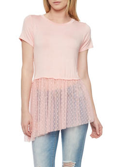 Cropped T Shirt with Mesh Heart Patterned Asymmetrical Panel - 1305058758133