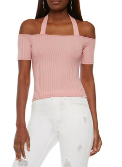Off the Shoulder Rib Knit Halter Top - 1305058758167
