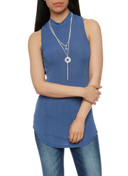 Mock Neck Tunic Tank Top with Necklace - 1305058758170