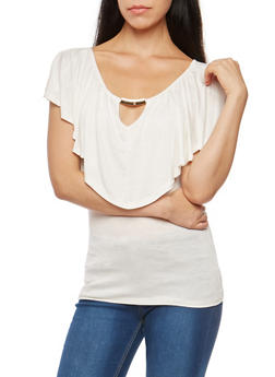 Short Sleeve Top with Metallic Bar Accent - OFF WHITE - 1305058758711