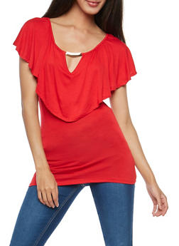 Short Sleeve Top with Metallic Bar Accent - 1305058758711