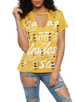 Graphic Destroyed Choker T Shirt - 1305058759000