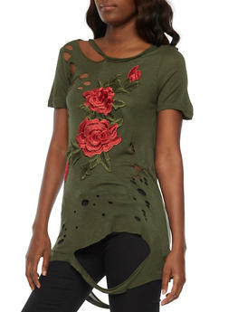 Floral Embroidered Lasercut Top - OLIVE - 1305058759006