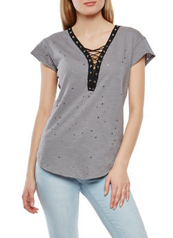 Lace Up Laser Cut Tee - 1305058759264