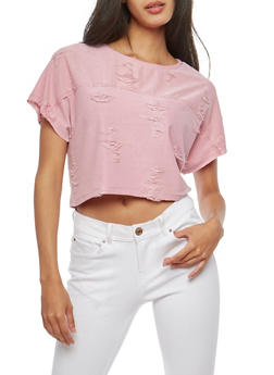Distressed Crop Top - 1305058759531
