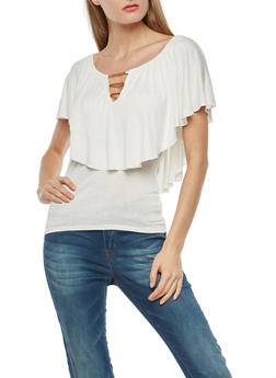 Ruffle Overlay Top with Metallic Neckline Detail - 1305058759952