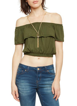 Off the Shoulder Crop Top with Removable Necklace - OLIVE - 1305067330203