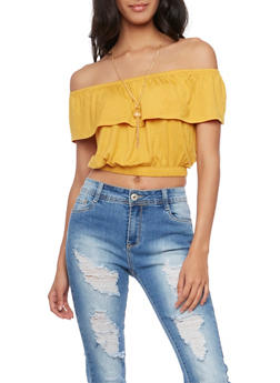 Off the Shoulder Crop Top with Removable Necklace - MUSTARD - 1305067330203