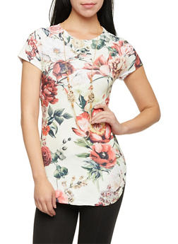 Floral Tunic Top with Necklace - 1305067330412