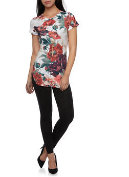 Tunic Top in Floral Print with Necklace - 1305067330425