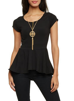 Peplum Top with Zip Scoop Neck and Removable Necklace - 1305067330436