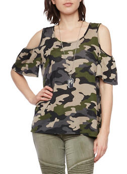 Camo Cold Shoulder Top with Necklace - 1305067330442