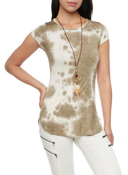 Tie Dye Top with Boho Necklace - OLIVE - 1305067330450