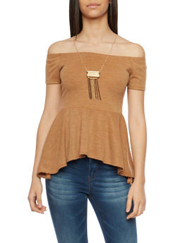 Off the Shoulder Top with Peplum Hem and Necklace - MUSTARD - 1305067332219