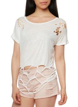 Short Sleeve Lasercut T Shirt - WHITE - 1305067332327
