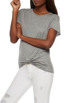 Short Sleeve Tie Front T Shirt - 1305067333734