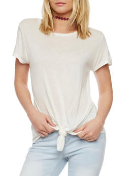 Short Sleeve Tie Front T Shirt - IVORY - 1305067333734