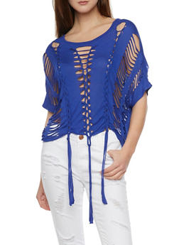Short Sleeve Braided Top with Knotted Hem - 1305067334134
