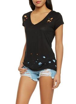 Laser Cut V Neck T Shirt - 1305067334334