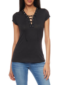 Short Sleeve Lace Up V Neck T Shirt with Grommet Details - 1305067335134