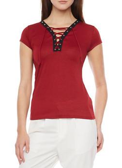 Short Sleeve Lace Up V Neck T Shirt with Grommet Details - BURGUNDY - 1305067335134