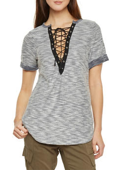 Plunging Lace Up V Neck Short Sleeve Shirt - 1305067335334