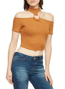 O Ring Choker Neck Crop Top in Ribbed Knit - 1305067339203