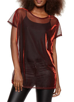 Metallic Mesh Knit T Shirt - 1305074290753