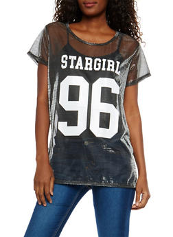 Stargirl Graphic Metallic Mesh Tunic Top - 1305074290754