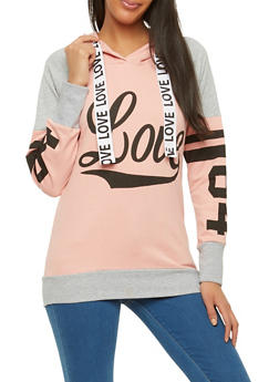 Love Graphic Hooded Sweatshirt - 1306033870018
