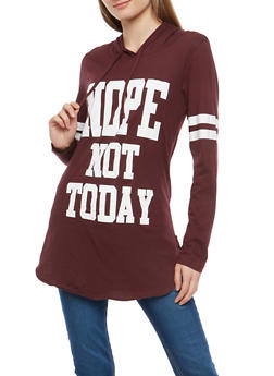 Nope Not Today Graphic Hooded Top - 1306033871301
