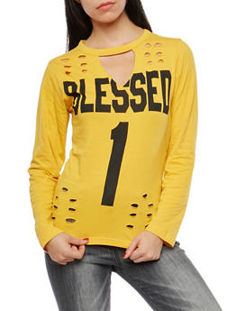 Blessed Laser Cut Graphic T Shirt - 1306033871373