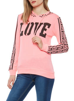 Love Graphic Hooded Top - 1306033872541