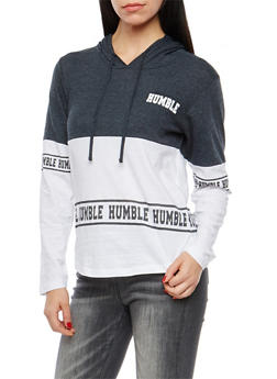 Color Block Humble Graphic Hooded Top - 1306033872878