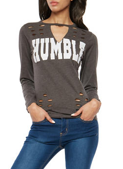 Humble Graphic Laser Cut Top - 1306033876472