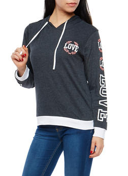 Love Graphic Hooded Sweatshirt - 1306033877258