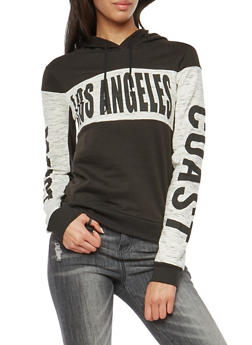 Fleece Lined Los Angeles Graphic Hooded Sweatshirt - 1306033877841