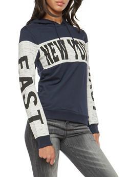 Fleece Lined New York Graphic Hooded Sweatshirt - 1306033877851