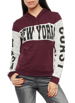Fleece Lined New York Graphic Hooded Sweatshirt - 1306033877851